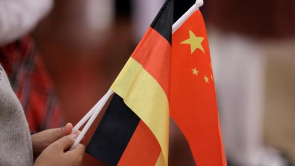 德國與中國國旗資料圖片