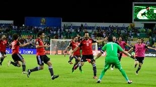 The Egypt team ecstatic after their victory
