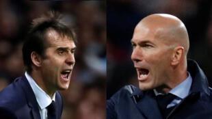 Julen Lopetegui, entraîneur du FC Séville (© Reuters/Juan Medina) et Zinédine Zidane, entraîneur du Real de Madrid (© Reuters/Paul Hanna).
