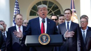 Tổng thống Mỹ Donald Trump phát biểu về thỏa thuận thương mại Hoa Kỳ-Mêhicô-Canada (USMCA) trong cuộc họp báo tại Vường Hồng, Nhà Trắng, Washington, ngày 01/10/2018