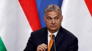 O primeiro-ministro Viktor Orban, durante uma entrevista coletiva em Budapeste.