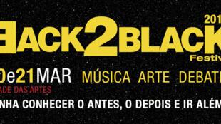 Cartaz do Festival Back2Black 2015 de Música, Literaturas e Artes, no Rio de Janeiro, Brasil