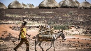 Un homme marche devant des huttes de la région de Maradi, au Niger, le 29 juillet 2019.