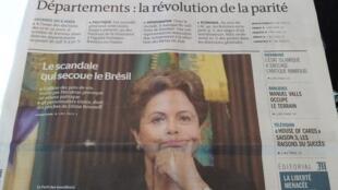 Capa do jornal Le Monde traz a foto da presidente do Brasil, Dilma Rousseff.