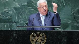 Mahmoud Abbas à la tribune des Nations unies le 27 septembre 2018.