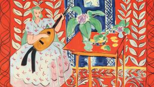 """Bức tranh vải """"Người đàn bà ôm đàn"""" của Henri Matisse (Manufacture des Gobelins, 1947-1949)"""