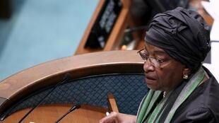 Liberia's President Ellen Johnson Sirleaf addresses the opening of the conference in Addis Ababa, 13 July  2015