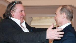 French actor Gérard Depardieu and Russian President Vladimir Putin at Sochi, 5 January 2013