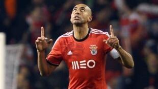 Luisão, defesa-central e capitão do Benfica, após um dos dois golos que marcou frente ao Tottenham.