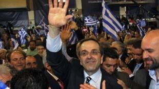O líder conservador Antonis Samaras em comício no dia 2 de maio, na cidade de Tessalônica.