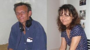 O técnico Claude Verlon (E) e a repórter Ghislaine Dupont, funcionários da RFI assassinados no Mali em 2013.