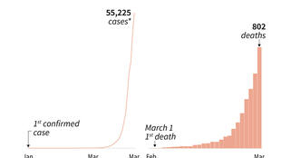 Rise in the number of COVID-19 cases in the United States since late January.