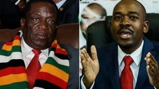 Emmerson Mnangagwa (L) Nelson Chalisa (R) during the election July 30 2018.