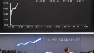 Thị trường chứng khoán Frankfurt, Đức ngày 10/5/2010.