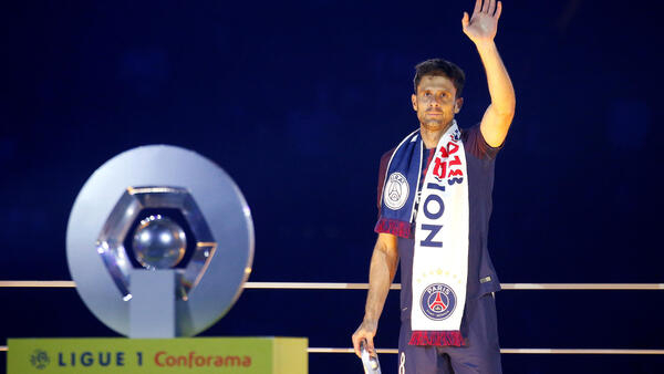 Thiago Motta durante a homenagem do clube ao camisa n° 8.