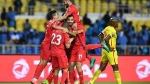 La joie des Tunisiens après la victoire, 4-2, face au Zimbabwe, au Stade de l'Amitié à Libreville, le 23 janvier 2017.