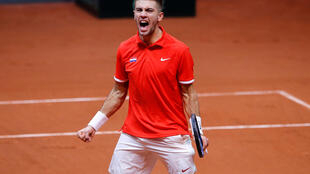 Borna Coric admitted he overcame pre-final nerves to beat Jeremy Chardy in straight sets.