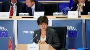 Sylvie Goulard lors de sa deuxième audition devant le Parlement européen à Bruxelles, le 10 octobre 2019, à l'issue de laquelle elle a été rejetée pour le portefeuille du Marché intérieur.