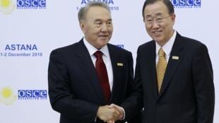 Nursultan Nazarbayev with UN secretary general Ban Ki-Moon last year