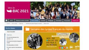 Capture d'écran de la page d'accueil de l'AEFE, qui a organisé sa 3e édition de la « Semaine des lycées français du monde ».