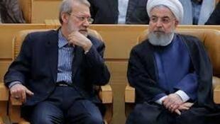حسن روحانی، رئیس جمهوری ایران (سمت راست)، علی لاریجانی، رئیس مجلس شورای اسلامی (سمت چپ)