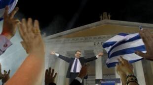 Antonis Samaras durante o comício relizado nesta quinta-feira, em Atenas