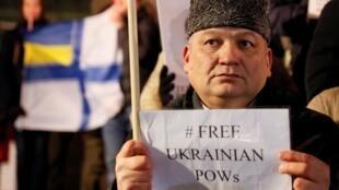 Участник акции за освобождение 24 украинских моряков, захваченных ФСБ в Керченском проливе. 17 декабря 2018 г.