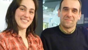Dolores Lago Azqueta y Mario Tomás López en los estudios de RFI.