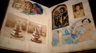 """""""Noa Noa, hành trình đến Tahiti"""" (1894-1901), quyển sổ tay bọc da gồm các bản ghi chép có minh họa của Gauguin"""