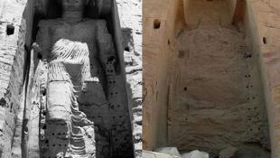 تندیسهای بودا در سال ۱۹۶۳ وسال ۲۰۰۸ پس از تخریب شدن توسط طالبان
