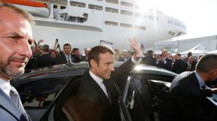 Presidente francês Emmanuel Macron em Saint-Nazaire na inauguração do paquete MSC Meraviglia, a 31 de Maio de 2017.