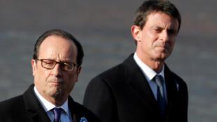 French Prime Minister Manuel Vallsand President François Hollande after lunching together