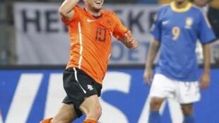Wesley Sneijder celebrates victory over Brazil