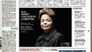 A primeira página do jornal Le Monde que chegou às bancas nesta quinta-feira traz uma foto de Dilma Rousseff e chamada para uma entrevista exclusiva com a presidente brasileira.