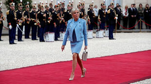 Brigitte Macron arrives at the Elysee Palace in Paris on May 14, 2017.