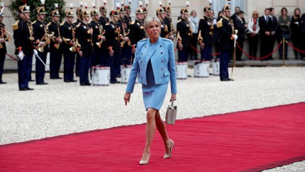Brigitte Macron arrives at the Elysee Palace in Paris on May 14, 2017.