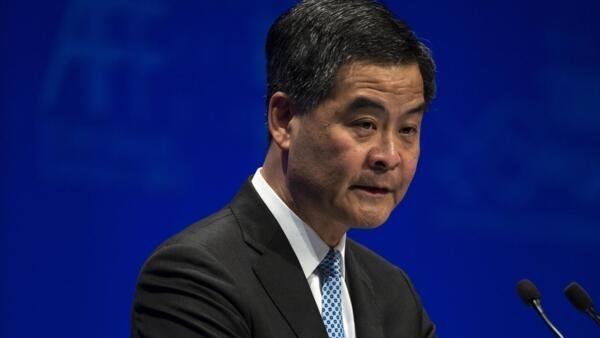 香港行政長官梁振英參加香港金融論壇,2014年1月13日。