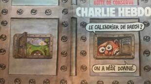 Capa da edição especial da revista Charlie Hebdo sobre os três anos do atentado contra sua redação.