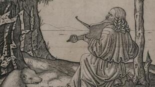 На гравюре Маркантонио Раймонди предположительно изображен Леонардо да Винчи в образе Орфея, играющий на ручной лире. Ок. 1505 г.