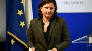 La ministre Roxana Maracineanu lors d'un point presse à Paris, le 3 février 2020
