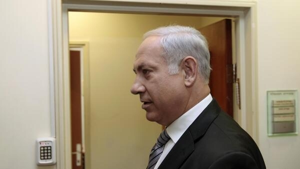 Israeli Prime Minister Benjamin Netanyahu arrives at a cabinet meeting in Jerusalem. 29 August 2010.