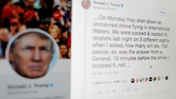 特朗普2019年6月21日發布一系列關於伊朗的推文。