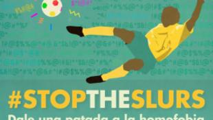 Cartaz da Glaad, grupo que promove ações contra a homofobia, que pediu a Fifa para erradicar a homofobia nos estádios de futebol.