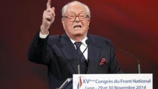 Jean-Marie Le Pen pronunciando un discurso el pasado noviembre en Lyon.