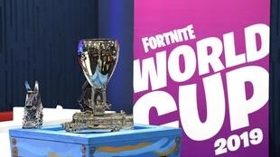 A view of the singles trophy on display during previews ahead of the 2019 Fortnite World Cup World Cup on July 25, 2019 in New York City.