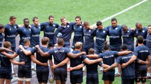 Le club de rugby du Racing 92 en entrainement à Bilbao en Espagne le 11 mai 2018.