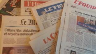Primeiras páginas dos jornais franceses de 26 de janeiro de 2017