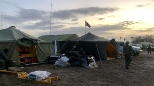Acampamento do contingente misto de Angola em Moçambique