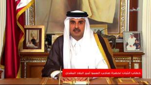 Le cheikh Tamin lors de son allocution télévisée vendredi 21 juillet 2017 à Doha