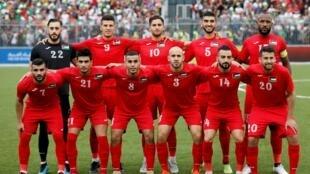 L'équipe nationale d'Arabie saoudite, le 15 octobre 2019 à Al Ram pour son match de qualification contre la sélection palestinienne.